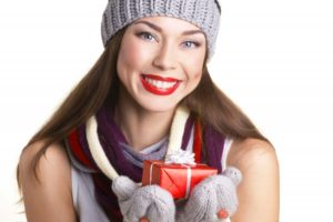 white teeth holidays present smiling